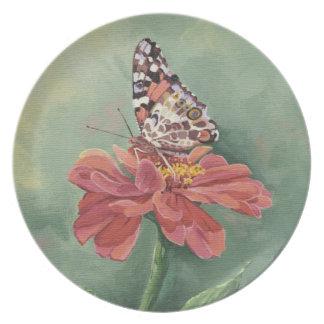 Señora pintada 0461 Butterfly en Zinnia Plato De Cena