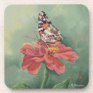 Señora pintada 0461 Butterfly en Zinnia Posavasos De Bebidas