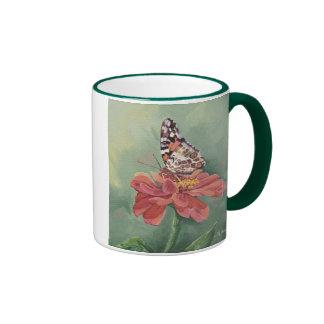 Señora pintada 0461 Butterfly en Zinnia Tazas De Café