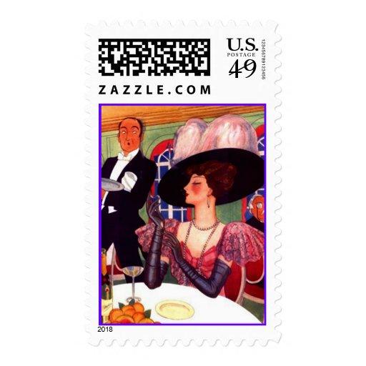 Señora pintada alta moda retra Stamps de Edwardian Sellos