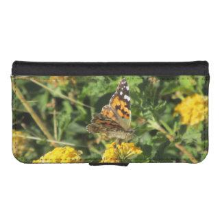 Señora pintada Butterfly en las floraciones del Funda Tipo Cartera Para iPhone 5