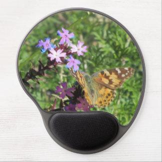 Señora pintada Butterfly en las flores púrpuras Alfombrillas De Ratón Con Gel