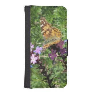 Señora pintada Butterfly en las flores púrpuras Cartera Para Teléfono