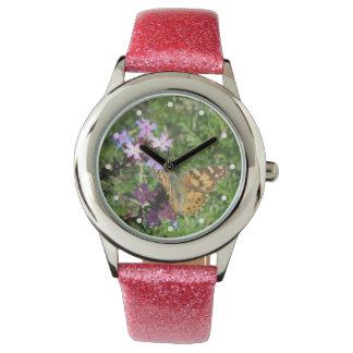 Señora pintada Butterfly en las flores púrpuras Relojes De Pulsera