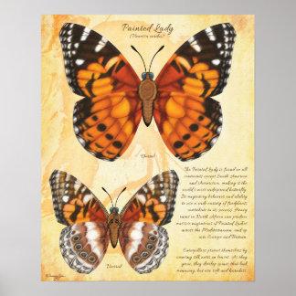 Señora pintada Butterfly Póster