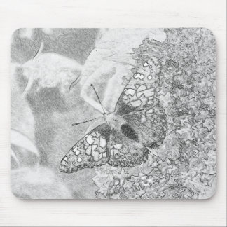 Señora pintada Butterfly Sketch Effect Tapetes De Ratón