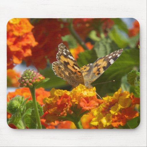 Señora pintada Butterfly Tapetes De Ratón