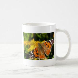 Señora pintada Butterfly Taza Clásica