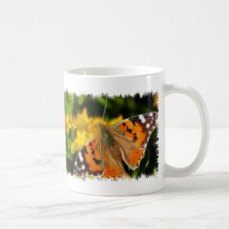 Señora pintada Butterfly Tazas