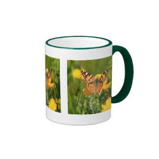 Señora pintada Butterfly Tazas De Café