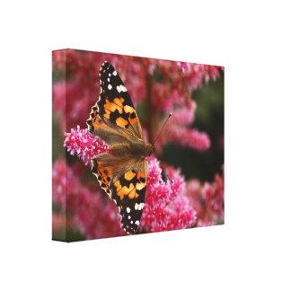 Señora pintada Butterfly Wrapped Canvas Impresiones En Lona Estiradas