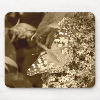 Señora pintada sepia Butterfly Tapete De Ratones