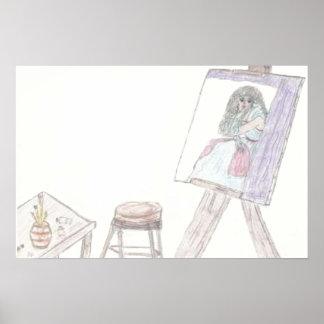 Señora pintada Sketch por el jlp Póster