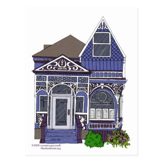 Señora pintada Victorian - azul Postales
