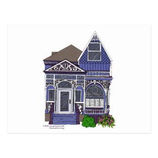 Señora pintada Victorian - azul Postal