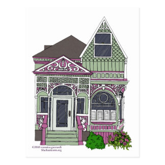 Señora pintada Victorian - verde/rosa Tarjetas Postales