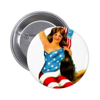 Señora Pinup Girl Patriotic el 4 de julio de la ba