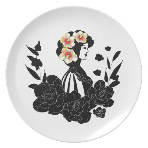 señora placa de la flor de la magnolia plato de cena