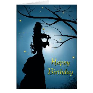 Señora Playing A Violin del feliz cumpleaños Tarjeta De Felicitación