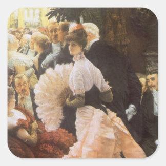 Señora política de James Tissot, Victorian del vin Pegatina Cuadradas