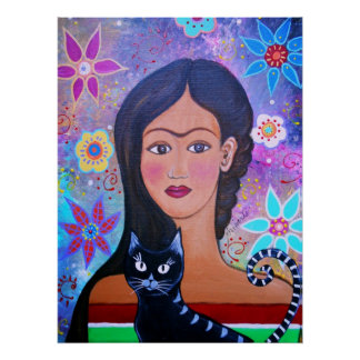 SEÑORA POPULAR MEXICANA WITH CAT PAINTING DEL ARTI POSTER