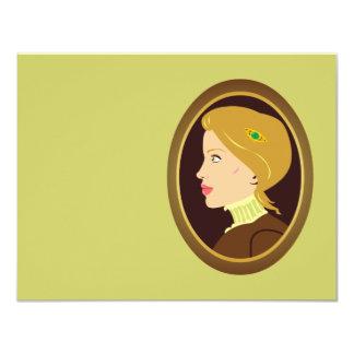 """Señora Portrait del Victorian Invitación 4.25"""" X 5.5"""""""