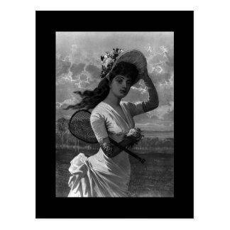 Señora Postcard del tenis del Victorian Tarjetas Postales
