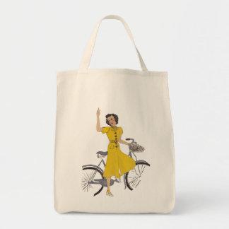 señora preciosa de la bici bolsa tela para la compra