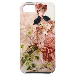 Señora preciosa In Pink Dress del vintage Funda Para iPhone 5 Tough