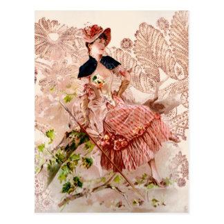 Señora preciosa In Pink Dress del vintage Postal