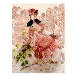 Señora preciosa In Pink Dress del vintage Tarjeta Postal