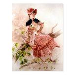 Señora preciosa In Pink Dress del vintage Tarjetas Postales