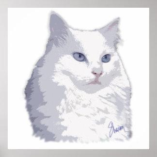 Señora princesa Cat Watercolor Póster