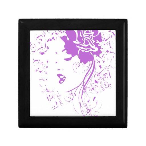 Señora púrpura del dolor crónico caja de joyas