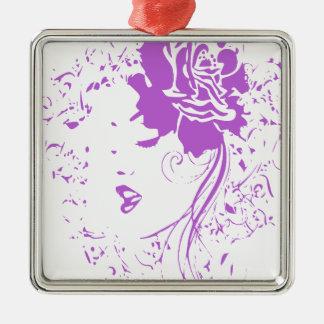 Señora púrpura del dolor crónico ornamento de navidad