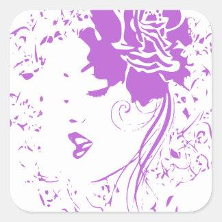 Señora púrpura del dolor crónico pegatina cuadrada