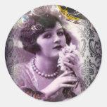 señora púrpura elegante de la aleta del vintage de pegatinas redondas