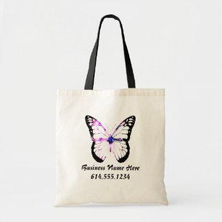 Señora púrpura la bolsa de asas 3 de la mariposa