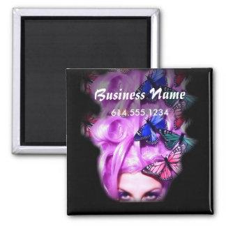 Señora púrpura Magnet de la mariposa del pelo Imán Cuadrado