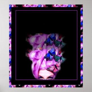 Señora púrpura Poster impresión 8 de la mariposa d