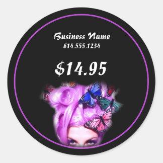 Señora púrpura Product Stickers de la mariposa del Pegatina Redonda