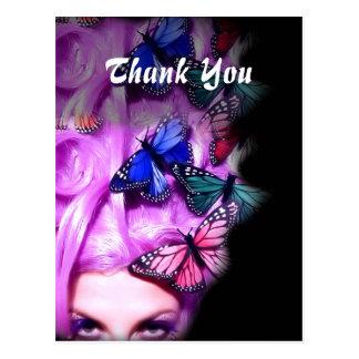 Señora púrpura Thank You Postcards de la mariposa  Tarjetas Postales