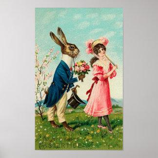 Señora que corteja del conejo del caballero en Pas Posters