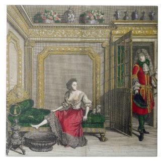 Señora que desnuda para el baño, c.1688-90 publica azulejo cuadrado grande