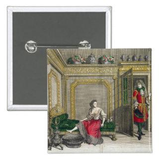 Señora que desnuda para el baño, c.1688-90 publica pin cuadrada 5 cm