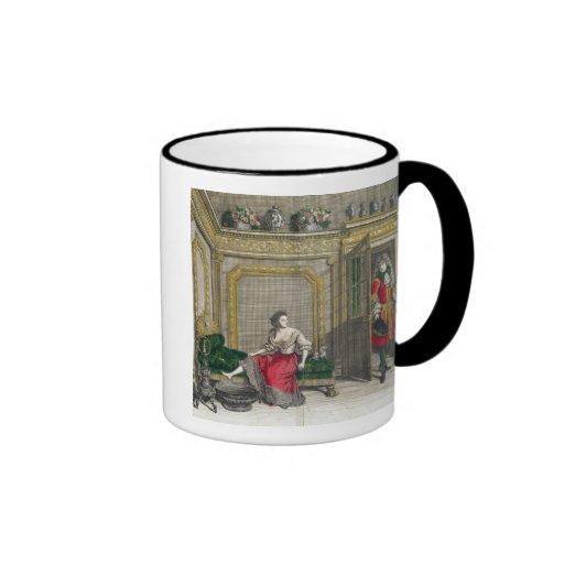 Señora que desnuda para el baño, c.1688-90 publica taza a dos colores