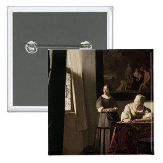 Señora que escribe una letra con su criada, c.1670 pin