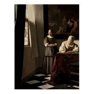 Señora que escribe una letra con su criada, c.1670 tarjeta postal