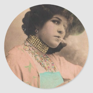 Señora que fuma Sticker del Victorian Pegatina Redonda