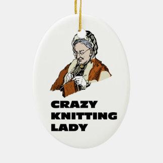 Señora que hace punto loca ornamento de navidad
